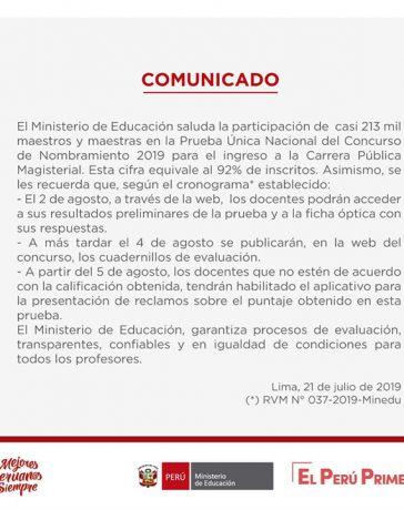 MINEDU publicará los cuadernillos con las preguntas y respuestas de la Prueba Única Nacional del Concurso de Nombramiento Docente 2019