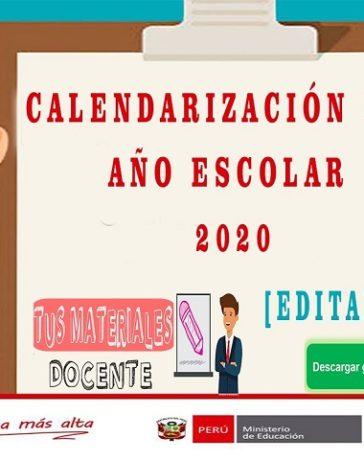 Calendarización del Año Escolar 2020