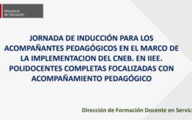 JORNADA DE INDUCCIÓN PARA LOS ACOMPAÑANTES PEDAGÓGICOS EN EL MARCO DE LA IMPLEMENTACION DEL CNEB