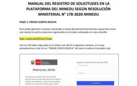 MANUAL DEL REGISTRO DE SOLICITUDES EN LA PLATAFORMA DEL MINEDU - MATRICULA 2020