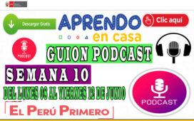 APRENDO EN CASA – Guion Podcast Semana 10 del lunes 08 al viernes 12 de junio