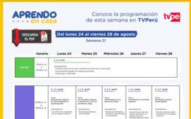 Aprendo en Casa - Horario de la Programación Tv y Radio – Semana 21