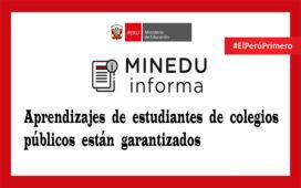 Minedu Aprendizajes de estudiantes de colegios públicos están garantizados
