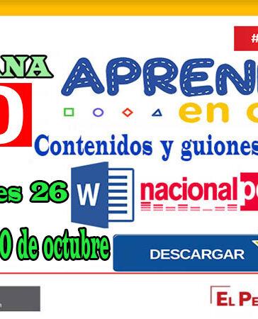 APRENDO EN CASA SEMANA 30 PROGRAMAS RADIALES: Sesiones, Guiones y Audios radiales del 26 al 30 de octubre