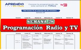 Aprendo en Casa programación de Radio y TV semana 28 del 12 al 16 de octubre