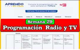 Aprendo en Casa programación de Radio y TV semana 29 del 19 al 23 de octubre