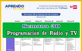 Aprendo en Casa programación de Radio y TV semana 30 del 26 al 30 de octubre