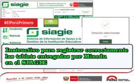 Instructivo para registrar correctamente las tablets entregadas por Minedu en el SIAGIE