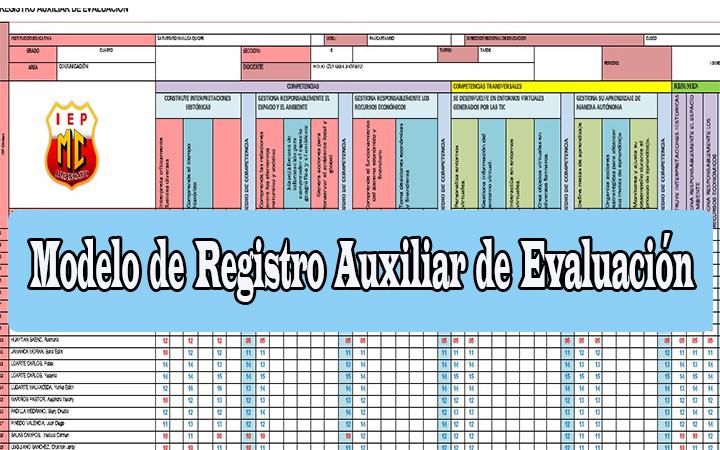 MINEDU – 2020 Registro Auxiliar de Evaluación