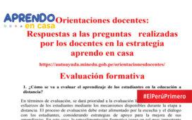 PREGUNTAS Y RESPUESTAS EVALUACIÓN FORMATIVA - APRENDO EN CASA