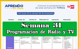 Programación de Radio y TV semana 31 Aprendo en Casa del 02 al 06 de noviembre