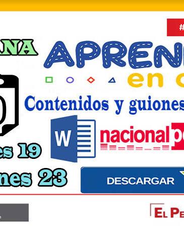 SEMANA 29 APRENDO EN CASA PROGRAMAS RADIALES: Sesiones, Guiones y Audios radiales del 19 al 23 de octubre