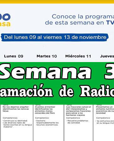 Semana 32 Programación de Radio y TV Aprendo en Casa del 02 al 06 de noviembre