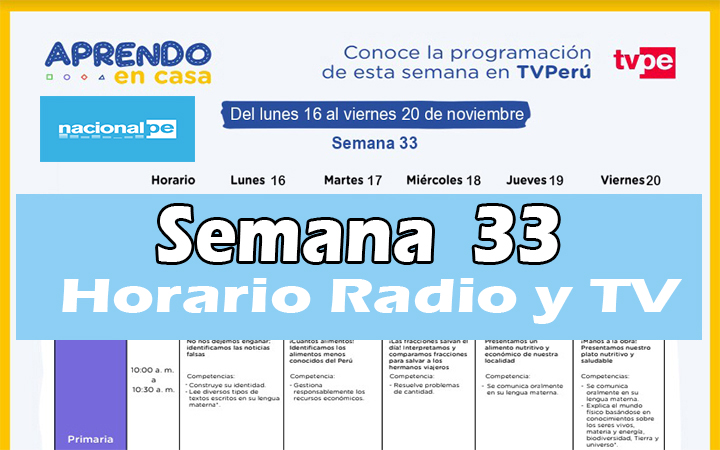 Semana 33 Programación de Radio y TV Aprendo en Casa del 16 al 20 de noviembre