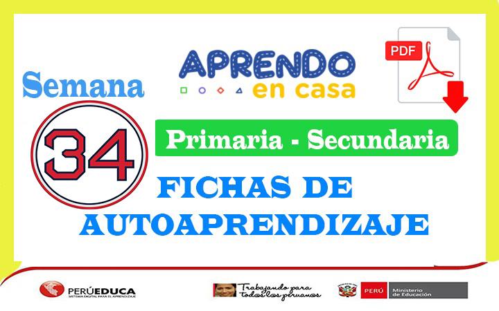 Semana 34 Fichas de Autoaprendizaje Aprendo en Casa Primaria y Secundaria del 23 al 27 de noviembre