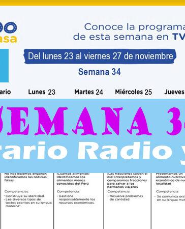 Semana 34 Programación de Radio y TV Aprendo en Casa del 23 al 27 de noviembre