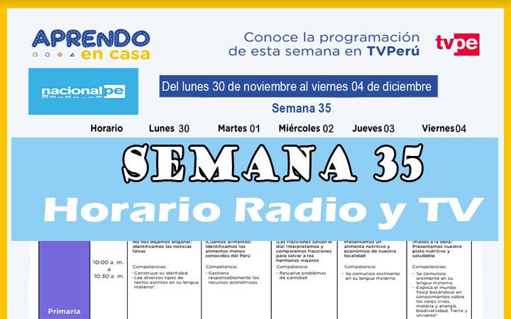Semana 35 Programación de Radio y TV Aprendo en Casa del 30 al 04 de diciembre
