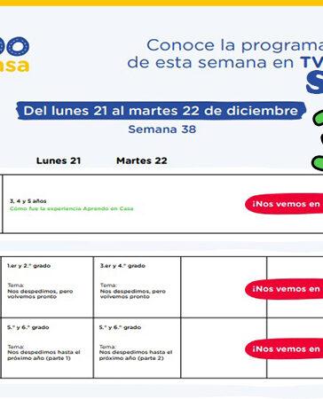 ¡Última Semana! Semana 38 Programación de Radio y TV Aprendo en Casa del 21 al 22 de diciembre