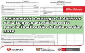 Documentos a entregar al director de la IE por parte del docente para la finalización del año escolar 2020