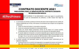 Precisiones para la renovación del contrato docente 2021