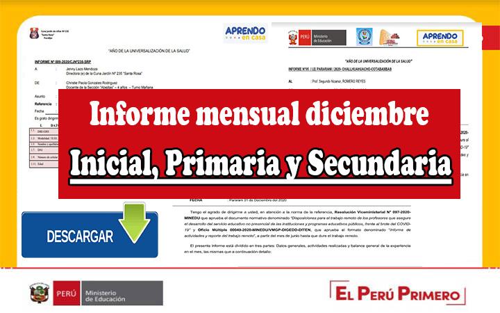 Minedu   Informe mensual diciembre - Inicial, Primaria y Secundaria