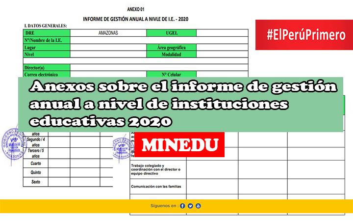 Minedu anexos sobre el informe de gestión anual a nivel de instituciones educativas 2020