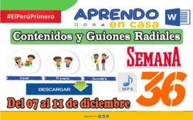 SEMANA 36 | APRENDO EN CASA PROGRAMAS RADIALES: Sesiones, Guiones y Audios radiales del 07 al 11 de Diciembre