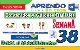 SEMANA 38 APRENDO EN CASA PROGRAMAS RADIALES: Sesiones, Guiones y Audios radiales del 21 al 22 de Diciembre
