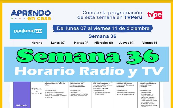 Semana 36 Programación de Radio y TV Aprendo en Casa del 07 al 11 de diciembre