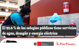 El 92.6 % de los colegios públicos tiene servicios de agua, desagüe y energía eléctrica
