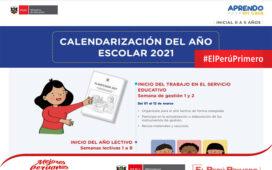 Calendarización del año escolar 2021 para el nivel inicial