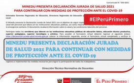 MINEDU PRESENTA DECLARACIÓN JURADA DE SALUD 2021