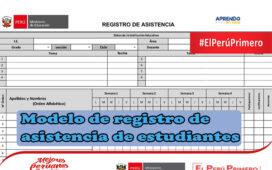 Modelo de registro de asistencia de estudiantes