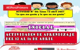 Actividades de aprendizaje del 12 al 16 de abril