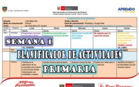 Aprendo en Casa - Planificador de actividades para el nivel primaria del 19 al 23 de abril