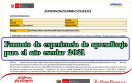 Formato de experiencia de aprendizaje para el año escolar 2021