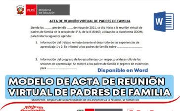 MODELO DE ACTA DE REUNIÓN VIRTUAL DE PADRES DE FAMILIA