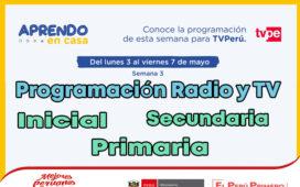 Programación de Radio y TV Semana 3 – Aprendo en casa del 03 al 07 de Mayo
