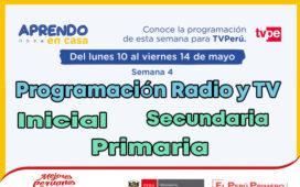 Programación de Radio y TV Semana 4 – Aprendo en casa del 10 al 14 de Mayo