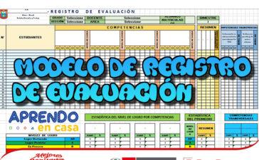 Modelo de registro de evaluación - Aprendo en casa