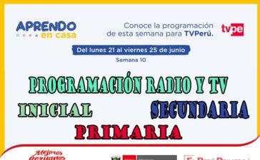 Programación de Radio y TV Semana 10 – Aprendo en casa del 21 al 25 de Junio