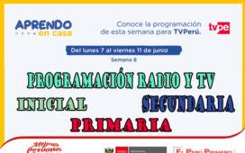 Programación de Radio y TV Semana 8 – Aprendo en casa del 07 al 11 de Junio
