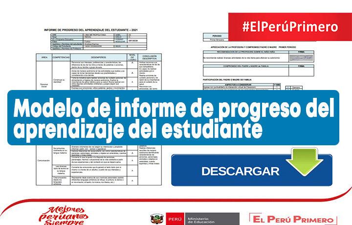 Modelo de informe de progreso del aprendizaje del estudiante