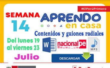 SEMANA 14 APRENDO EN CASA PROGRAMAS RADIALES: Sesiones, Guiones y Audios radiales del 19 al 23 de Julio